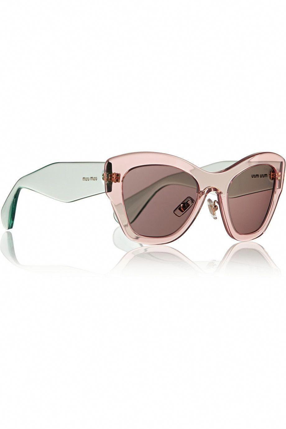 Miu Miu Two Tone Cat Eye Acetate Sunglasses Net A Porter Com
