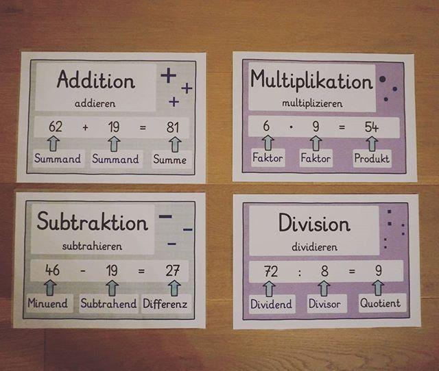 M A T H E Plakate zu den vier Rechenarten Ich mag es eher schlicht ...