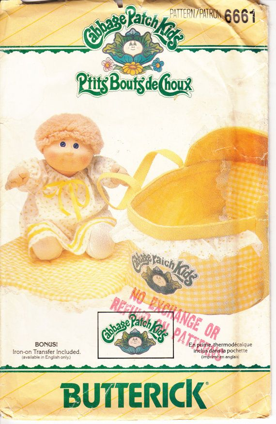Vintage 80s Sewing Pattern UNCUT CABBAGE PATCH Kid Bed Carrier ...