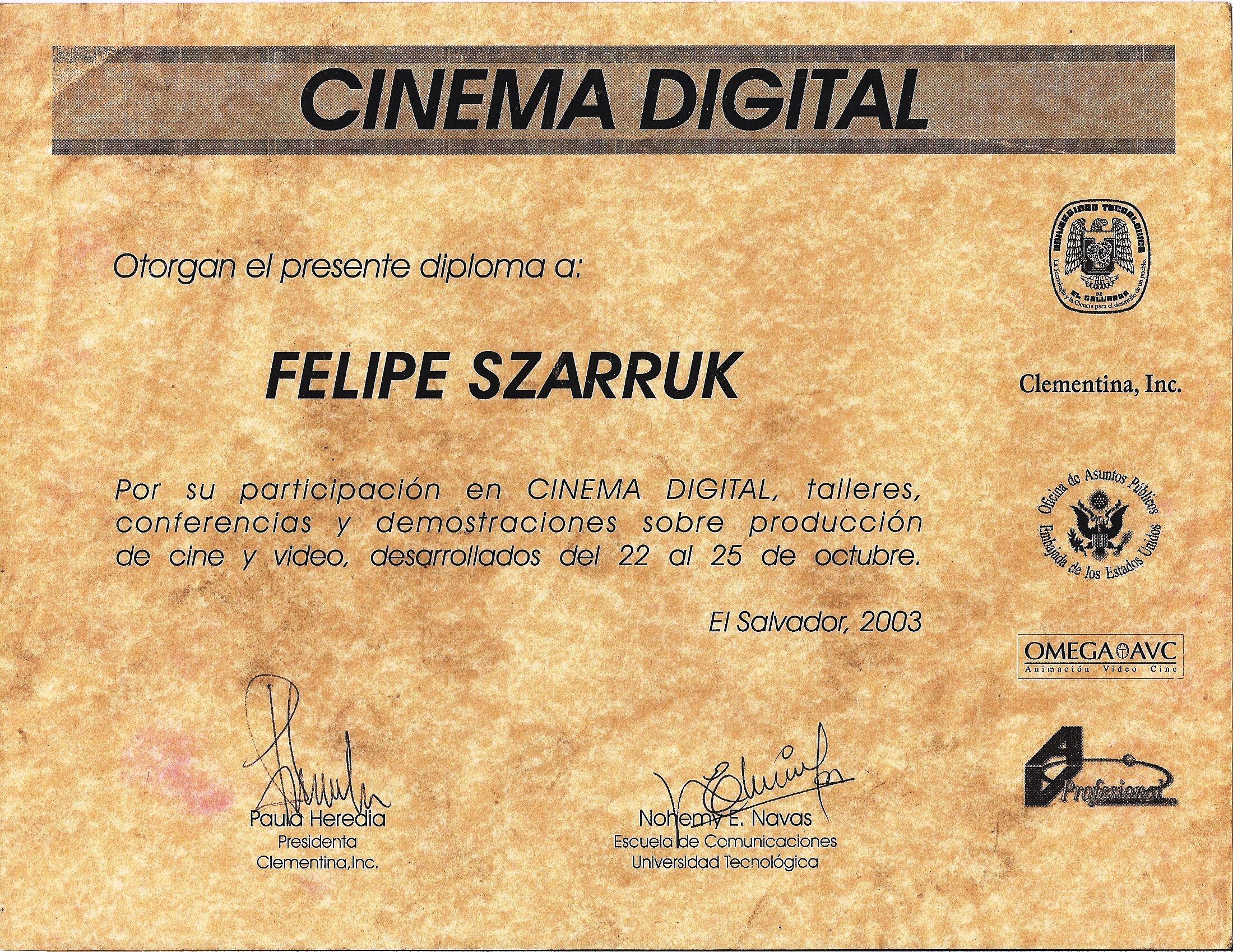 Diploma en Cinema Digital de la Universidad Tecnológica de El ...