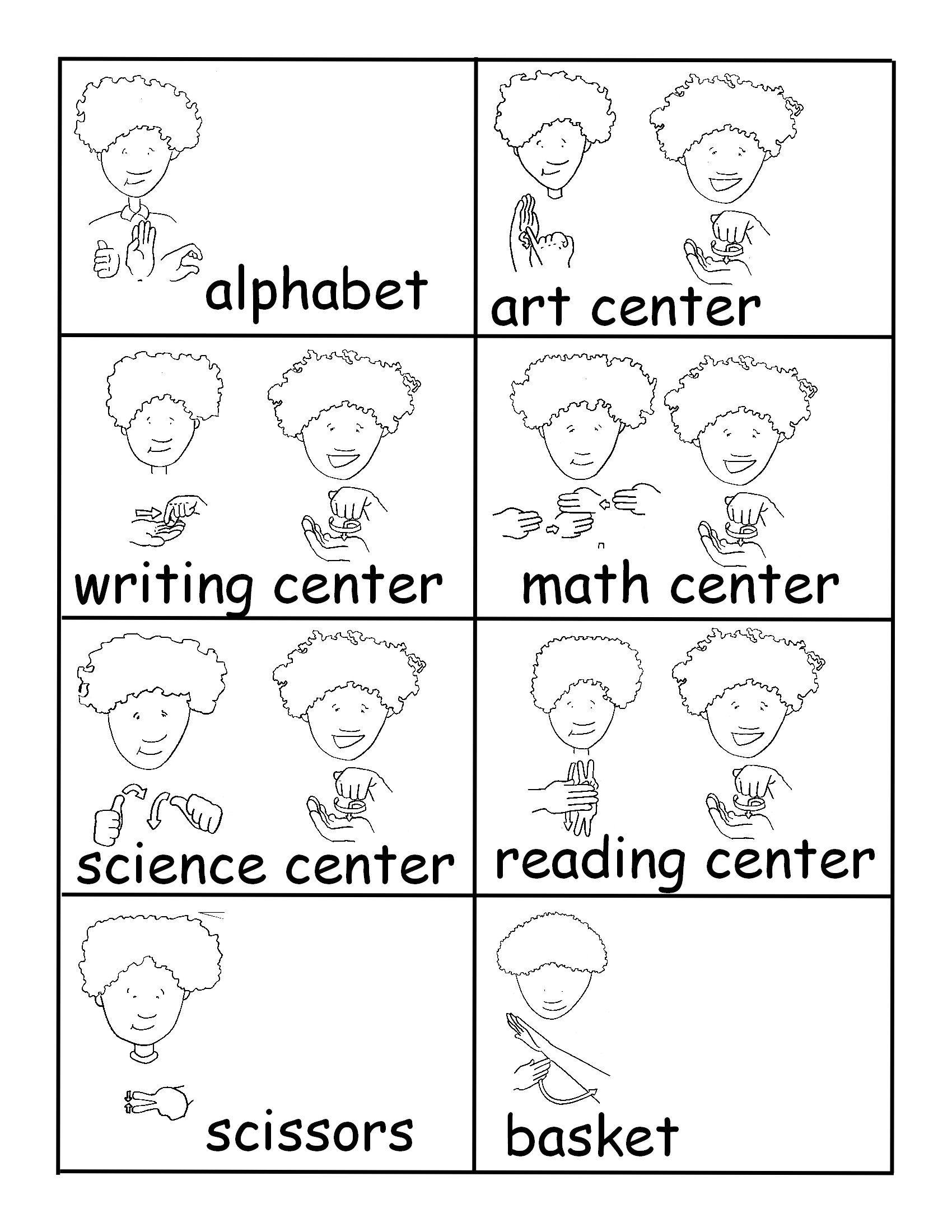 Asl Room Labels For School Deafedhub Com Language Worksheets Sign Language For Kids Kindergarten Worksheets Printable Kindergartenworksheets asl coloring pages i