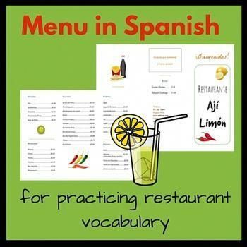 Menu In Spanish For Practicing Restaurant Vocabulary Perfect For
