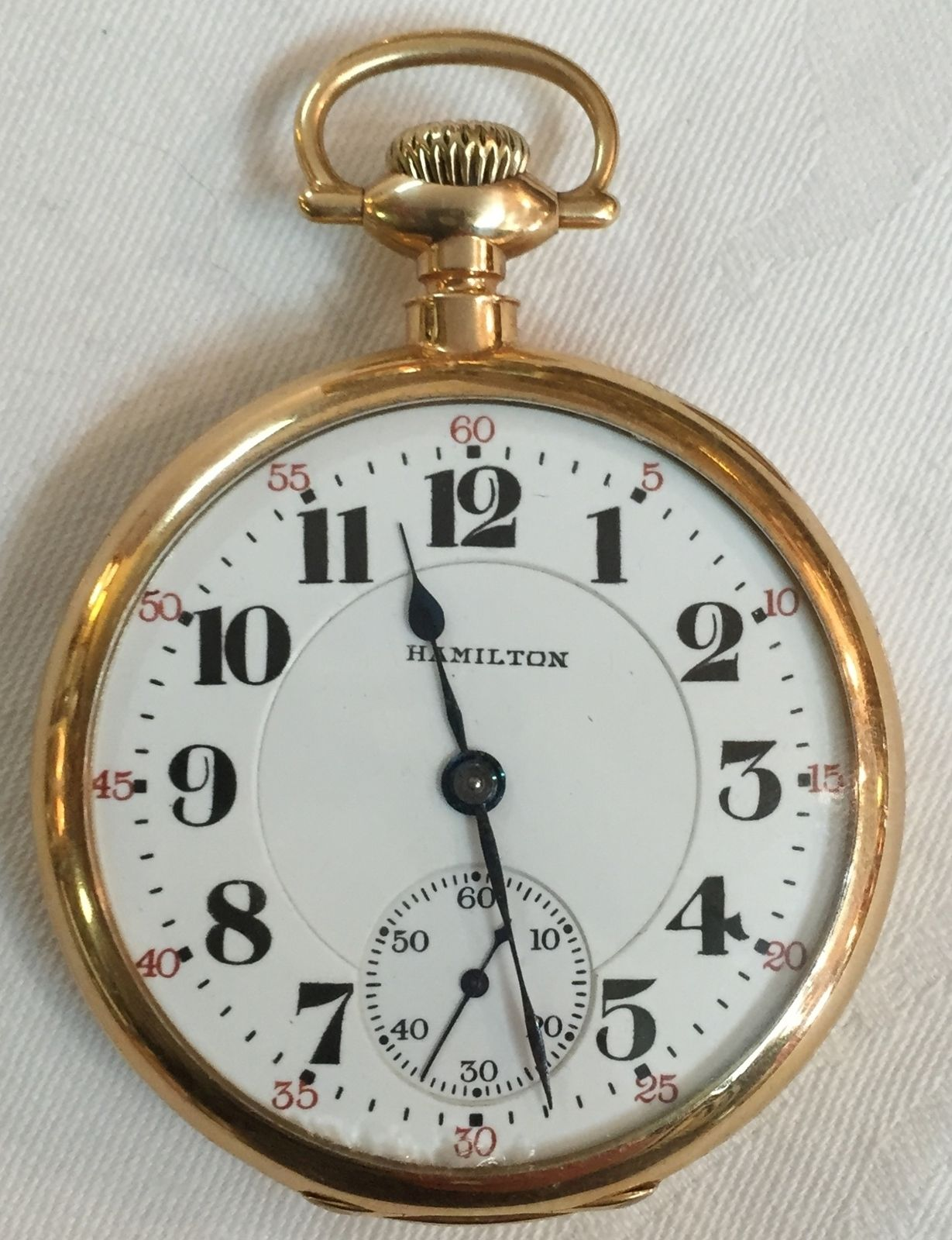 1920 HAMILTON 14K GOLD 21 JEWL RAILROAD GRADE 992 POCKET WATCH sz 16 IN  CASE Pocket