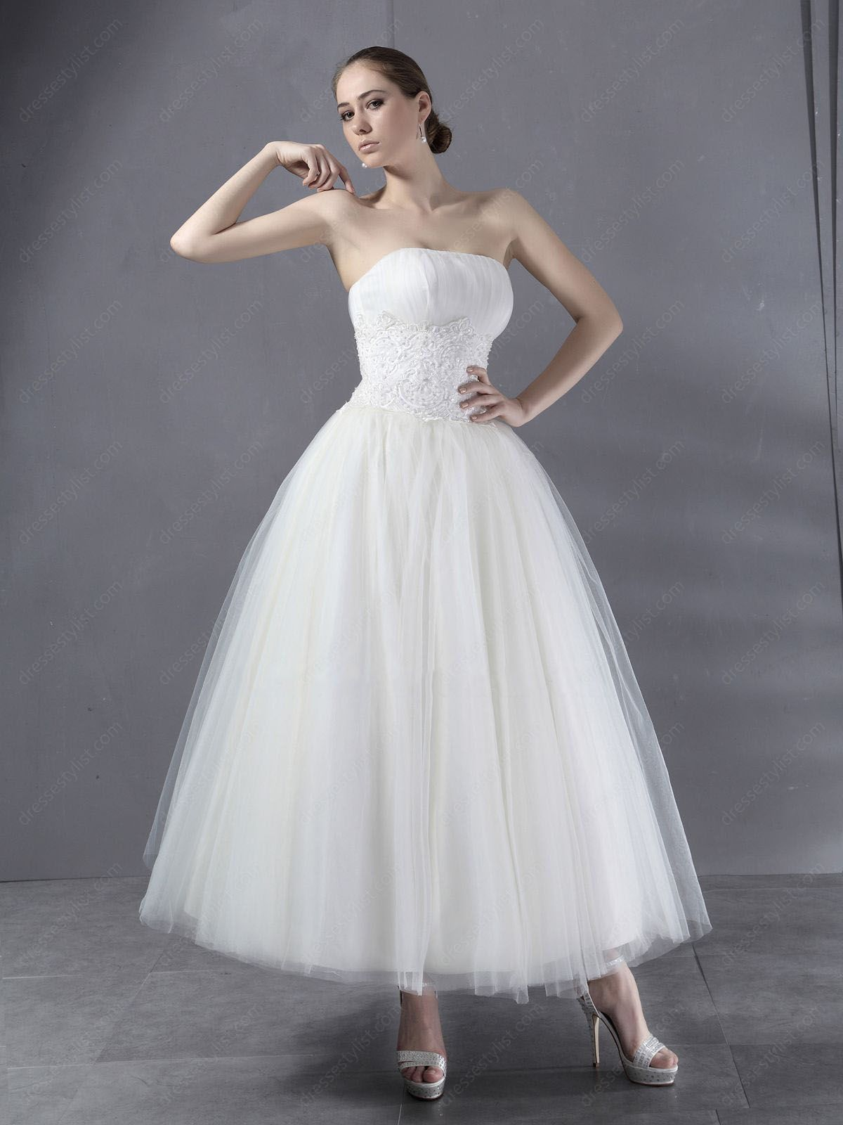 Find affordable BallGown Strapless Tulle Ankle-length White ...