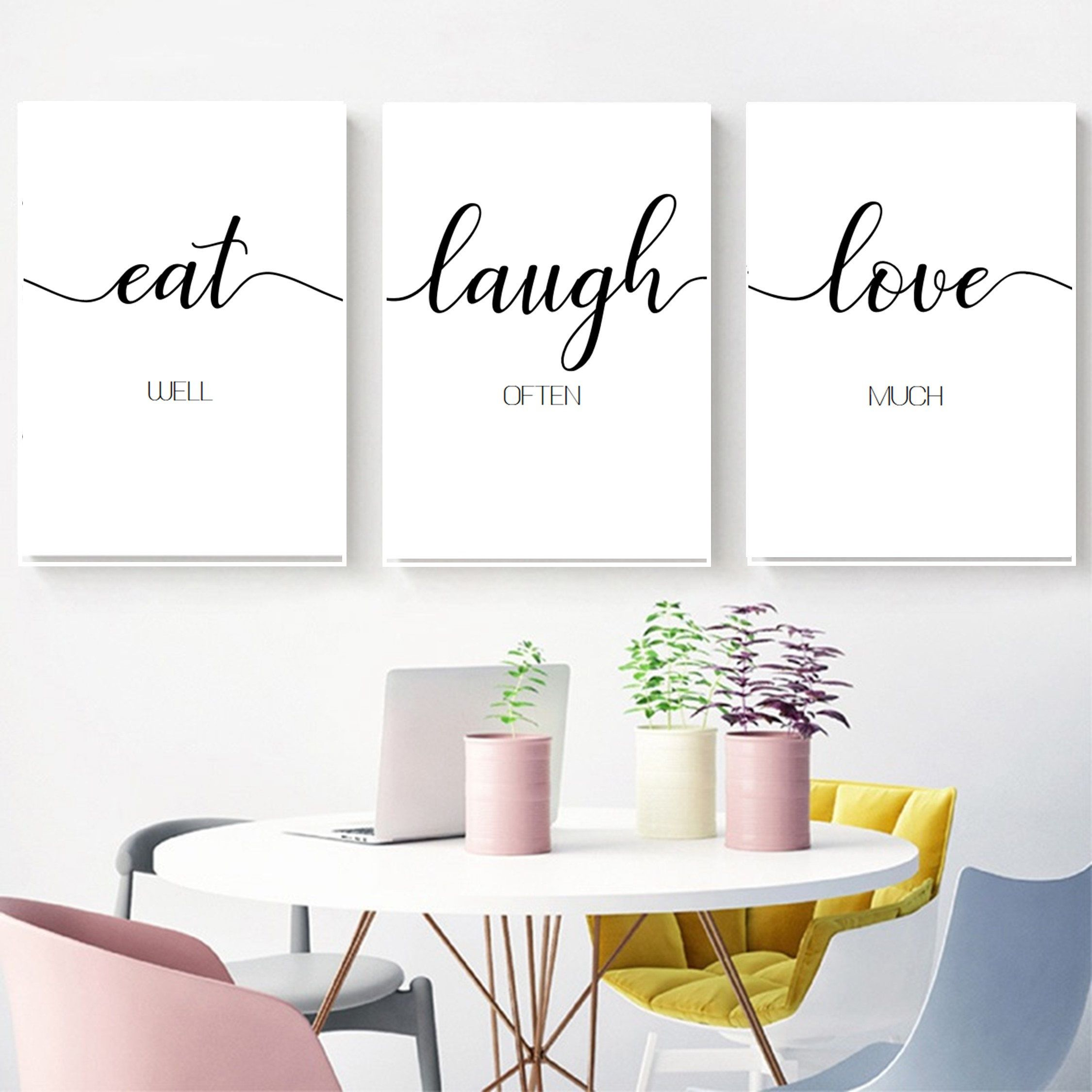 Family Wall Decor Modern Kitchen Art Set Of 3 Prints Dining Etsy In 2020 Kitchen Art Set Modern Kitchen Art Modern Kitchen Wall Art