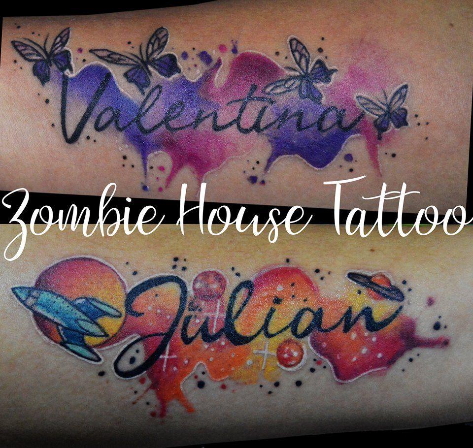 Nombres En Acuarelas Haciendo Homenaje A Sus Hijos Zht Zombiehousetattoo Daizombie Tatuajes De Nombres Tatuajes De Acuarela Tatuaje De Nombre De Hijo