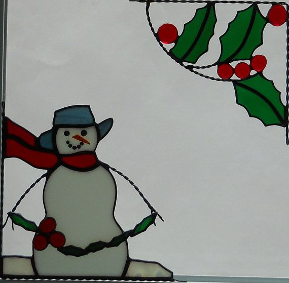 Snowman Holding Holly And Holly Berry Window Corner Combo