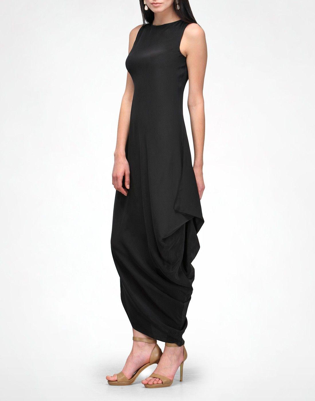 KAVITA BHARTIA Black Side Drape Dress $182 silk crepe 100% silk ... for Drapes Clothes  146hul