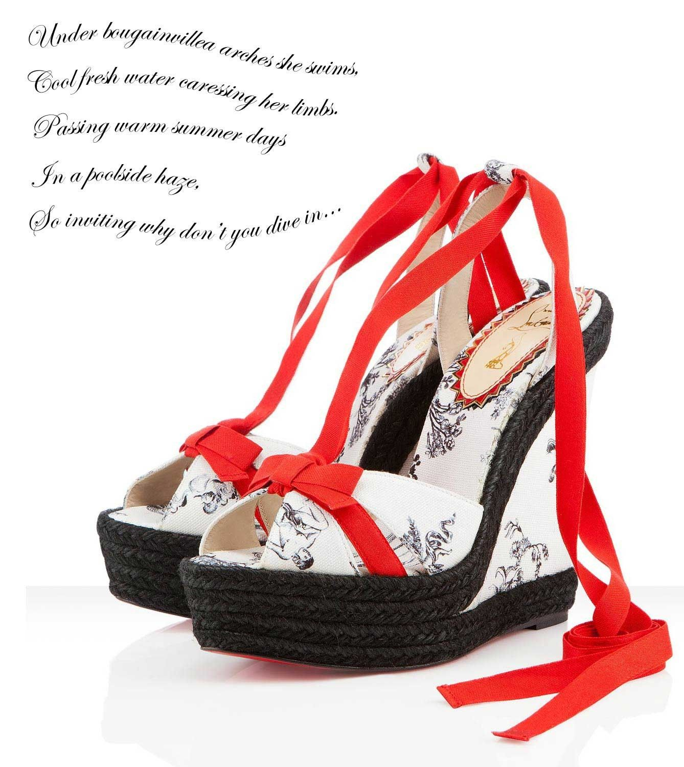 56de1bfeca6 Christian Louboutin Isabelle 140mm Wedges In White Cotton 4