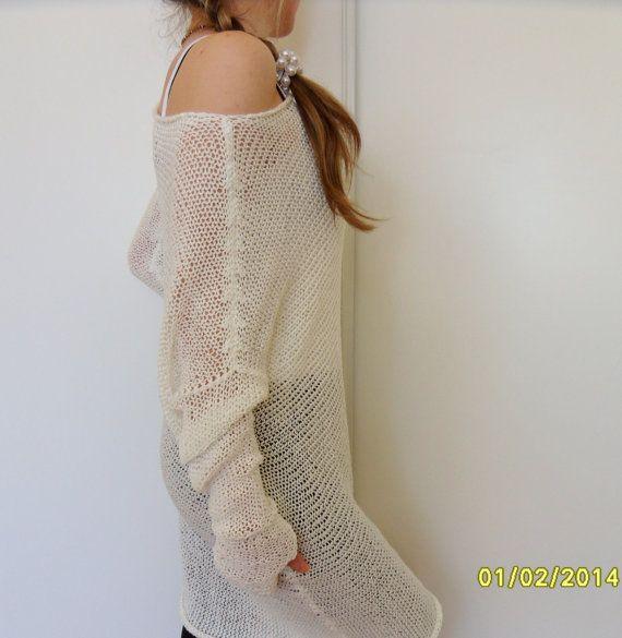 Oversized women cotton tunic/sweater.Off-white knit tunic. Womens ...