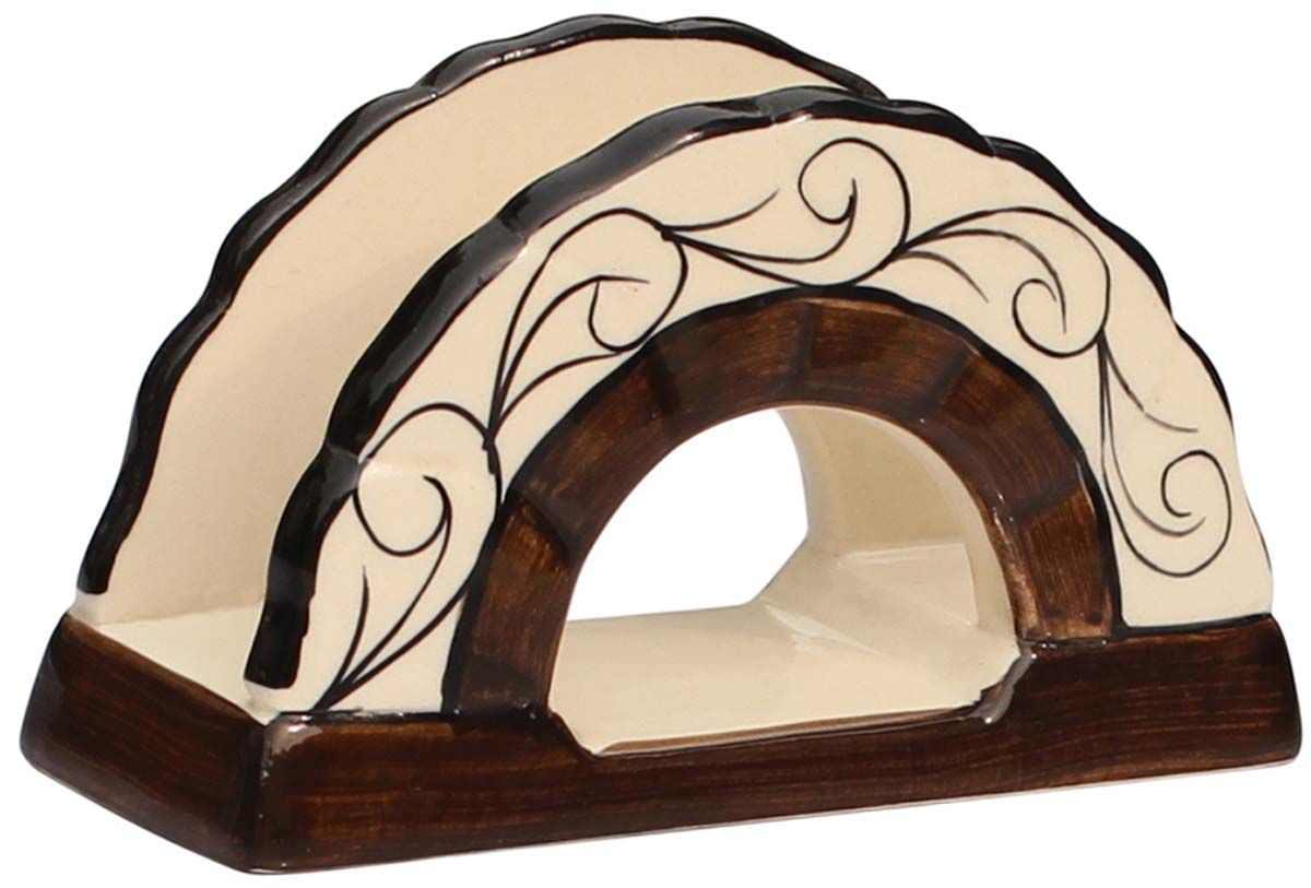 Chocolaty Effects Handmade 5 Ceramic Napkin Tissue Holder With Rich Brown Strikes On Off White B Napkin Holder Dining Table Accessories Table Accessories