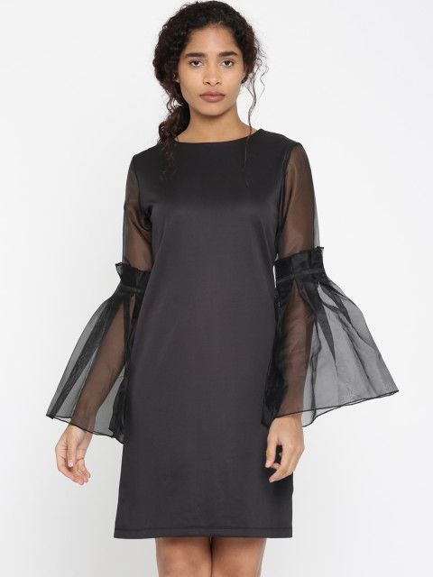 fe2180e9e901 Buy THE SILHOUETTE STORE Women Black Solid A Line Dress - Dresses for Women  2252188