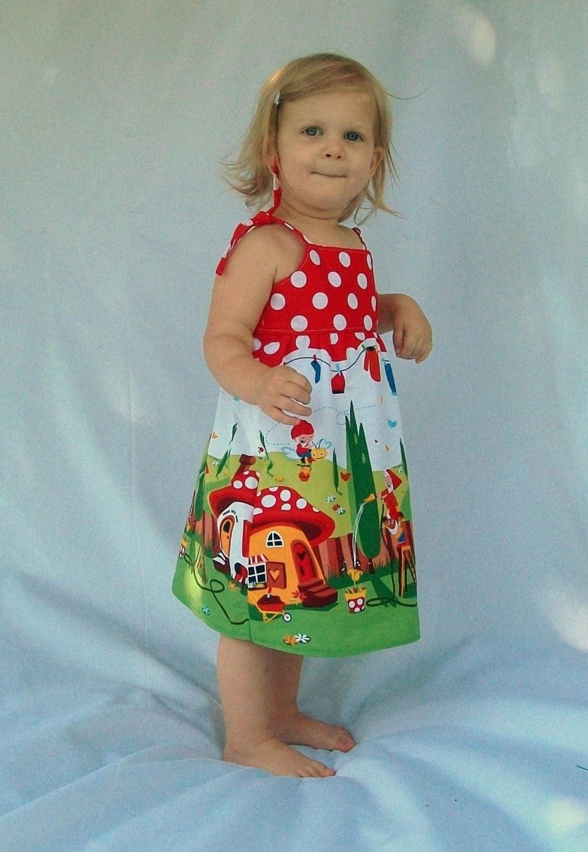 Gnomeville Toddler Dress - 12m, 18m, 2T, 3T, 4T - Free Shipping. $38.00, via Etsy.