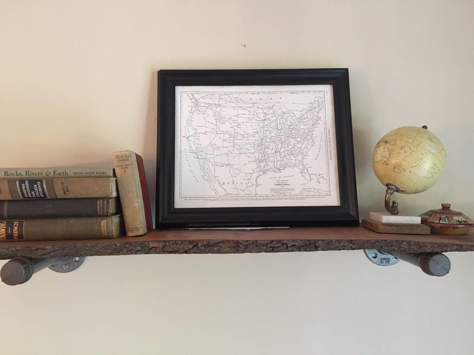 Vintage US Railroad Map // 1943 Original Framed Map of United States ...