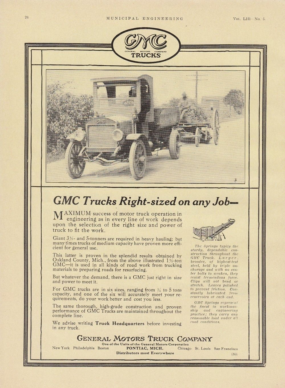 1917 General Motors Truck Co Pontiac Mi Ad Gmc Trucks Right Sized