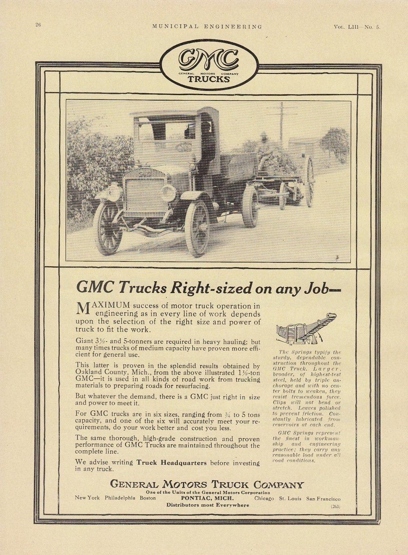 1917 general motors truck co pontiac mi ad gmc trucks