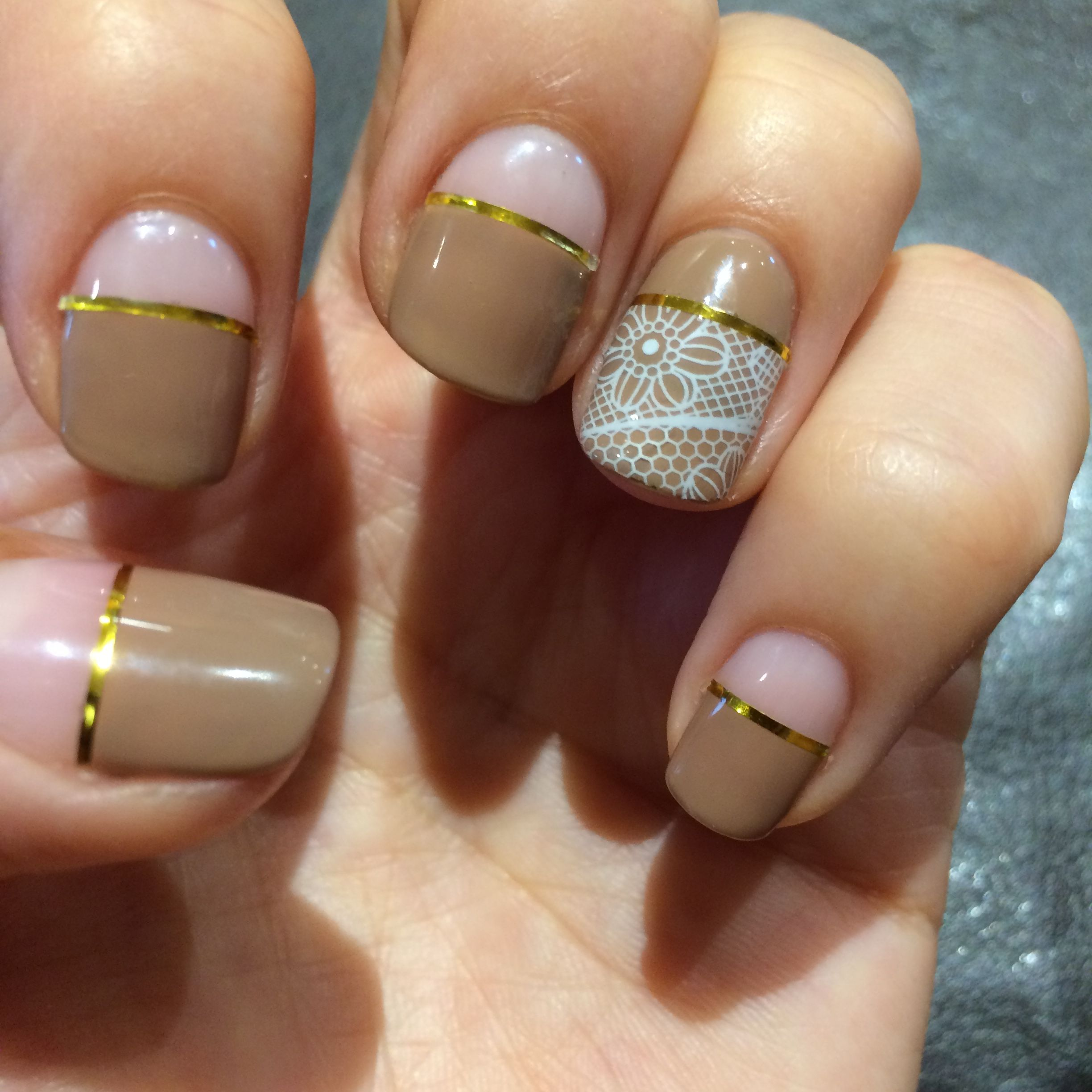 Brown Nail Art with Lace and Tape | Nail Art | Pinterest | Brown ...