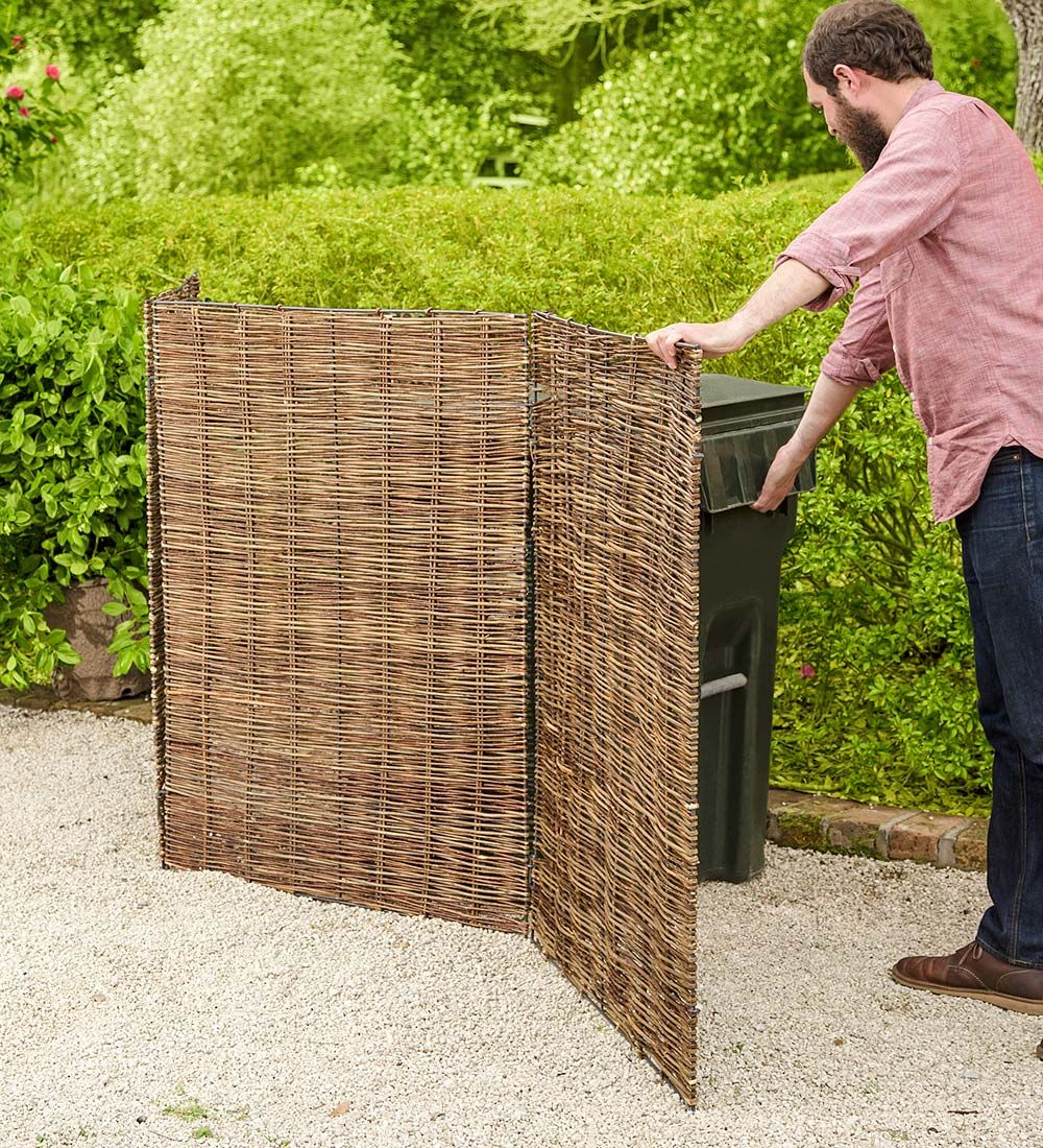 Willow Tri Panel Trash Can Cover Garden Fencing Conceal Unsightly Trash Cans Or Other Common Eyesores Trash Can Covers Trash Barrel Garbage Shed