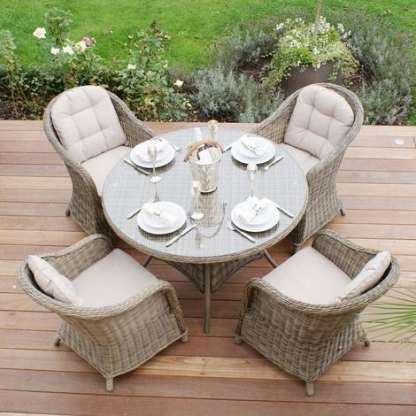 Maze Rattan - Winchester Rounded Armchair 4 Seat Rattan Dining Set