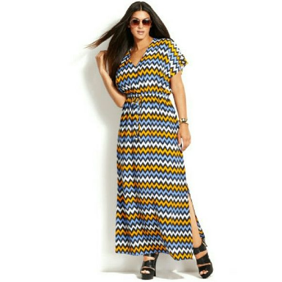 Michael Kors +sized shortsleeve chevron print maxi Michael Kors short-sleeve orange, blue, and white Chevron print maxi dress. Very flowing and light dress. Silky martial . Missing two ties in front but very vibrant in color. Michael Kors Dresses Maxi