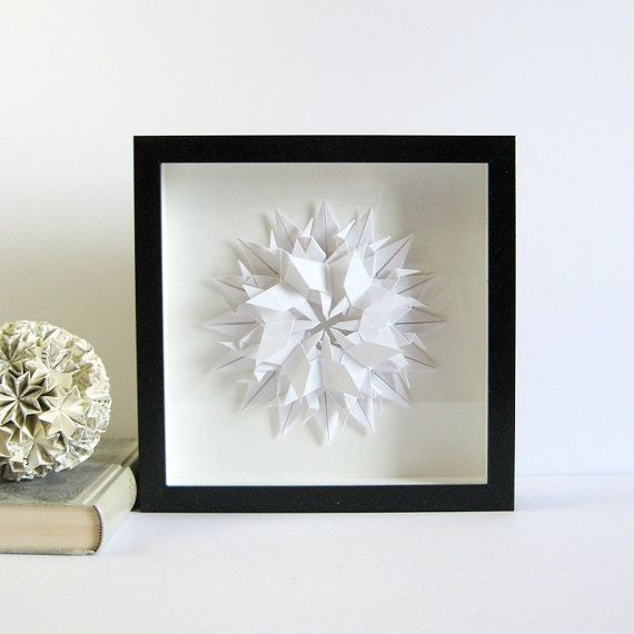 Origami Starburst Art White Paper Butterflies Framed Shadow Box Art 10x10 Square Frame Black Shadow Box Art Box Art Paper Collage Art