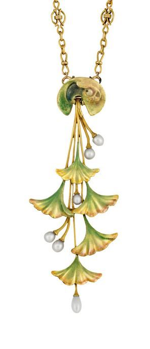 Lucien Gaillard | Lot 341 Art Nouveau Gold, Enamel and Pearl Pendant-Brooch with Chain Necklace - circa 1900.