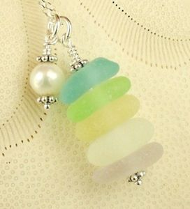 Image of Swarovski Crystal Pearl Necklace GENUINE Sea Glass Necklace In Pastels Very RARE Colors