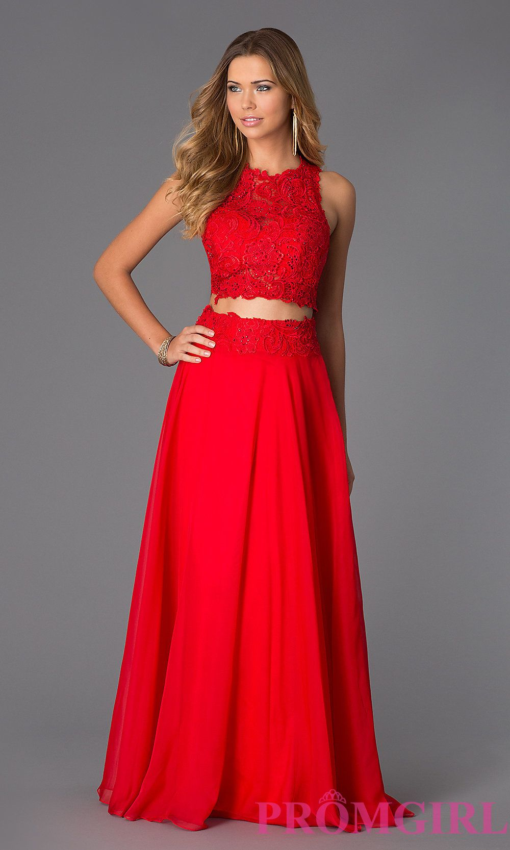 Two Piece Long Lace Prom Dress by Dave and Johnny Red