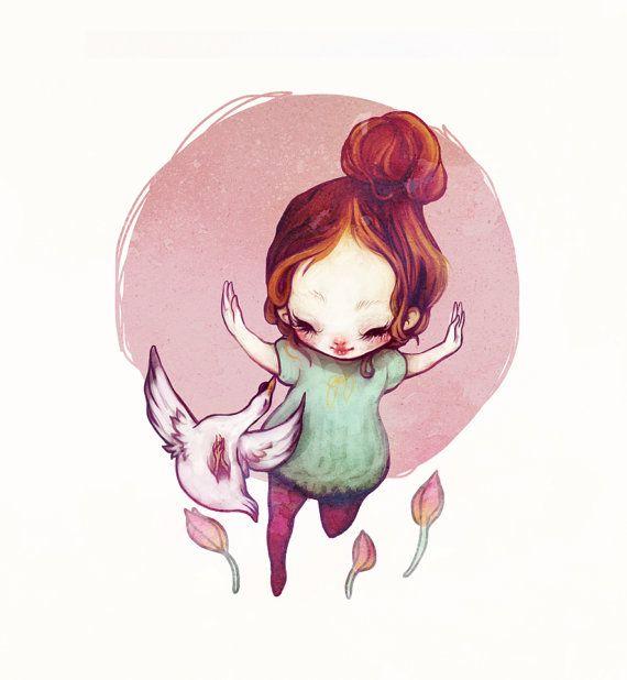 """Swan Dance"" Graphite + Digital. 2013. #flyokay    Tags: #illustration #whimsical #fantasy #art #kawaii"