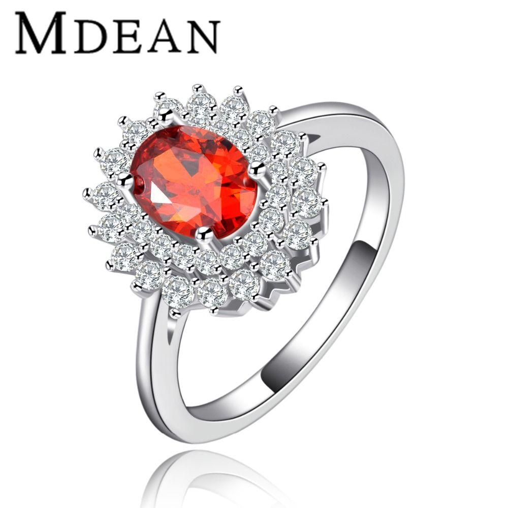 Mdean aaa circón anillos de la vendimia para las mujeres del partido rojo blanco Color del oro de compromiso joyería para mujer talla 6 7 8 MSR119