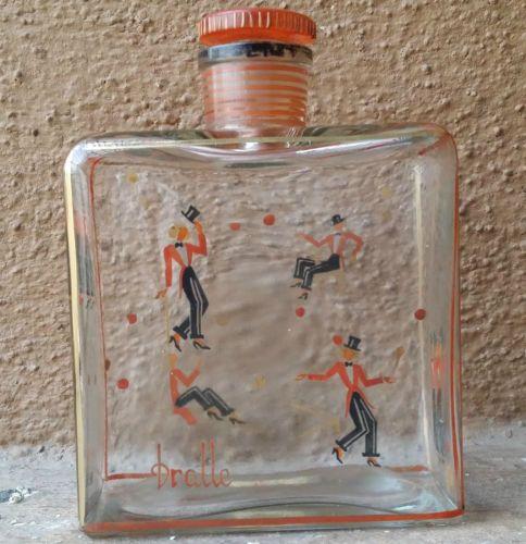 c1920-Rare-Old-Vintage-Dralle-Tula-esmalte-pintado-perfume-Botella