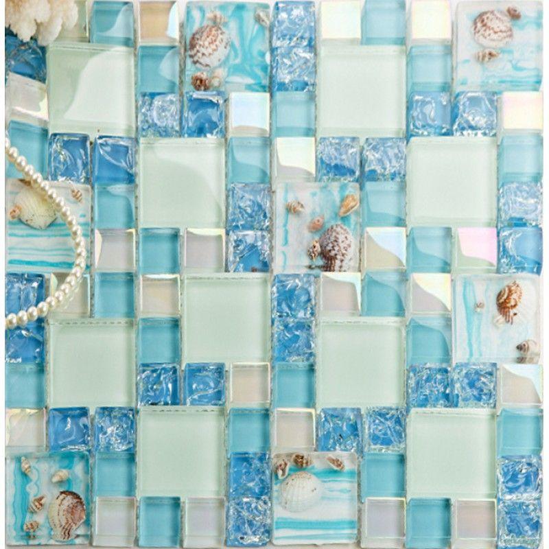 Blue Glass Mosaic Tile Backsplash Crackle Crystal Glass
