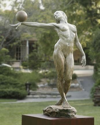 Photo of Balance (life size) Paige Bradley bronze sculpture 84 x 61 x 43 inches – architecture and art