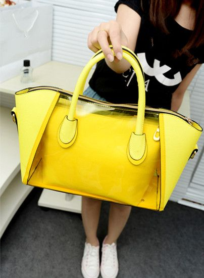 Office lady Jelly Clear Working Bag Sweet Jelly Woman Girl Transparent Shoulder Bag PVC 2 in 1 Handbag Fashion Clear Bags