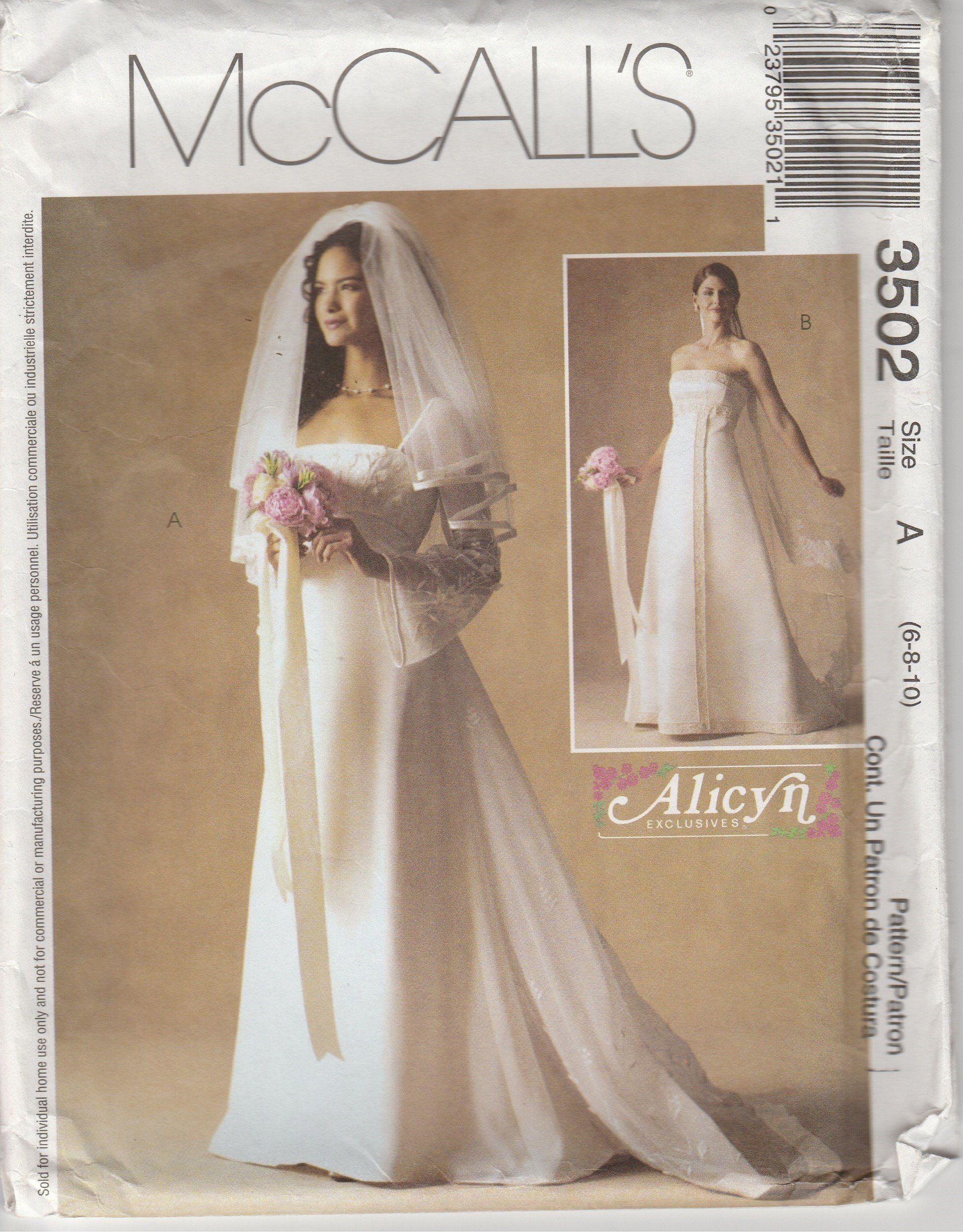 Wedding Dress Pattern Empire Waist Detachable Train Gown