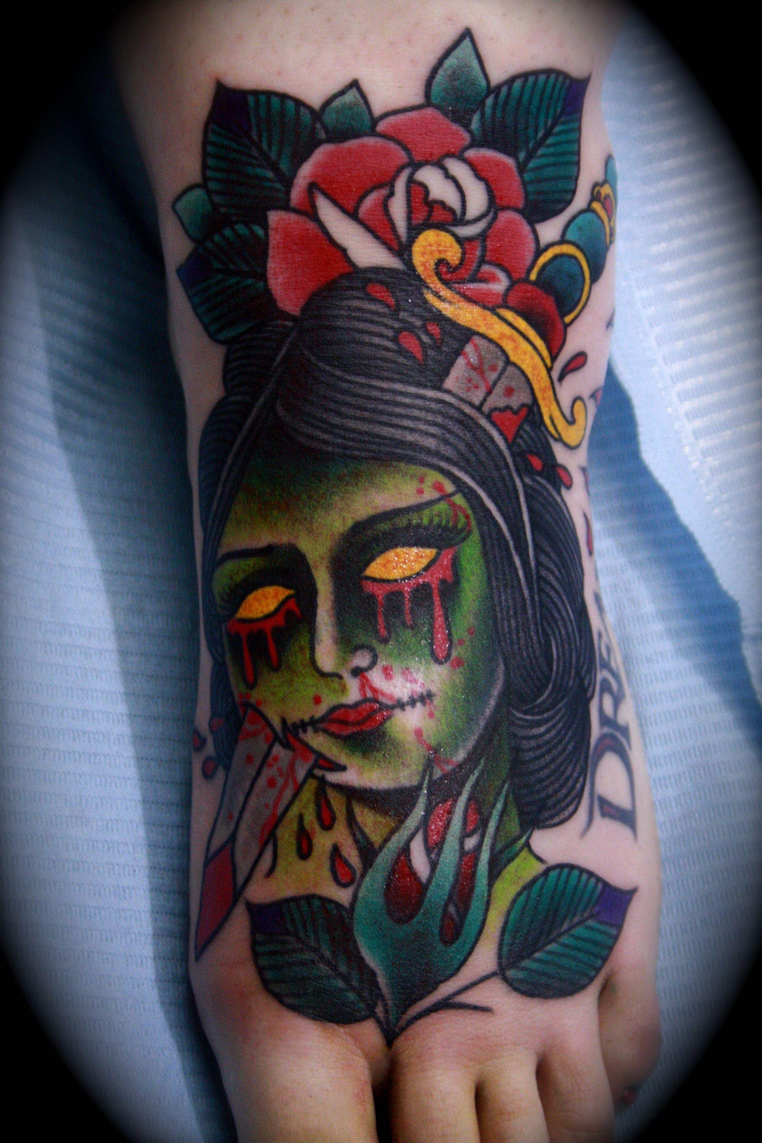 Traditional Zombie Girl Old School Tatuajes Calaveras Y Pinturas