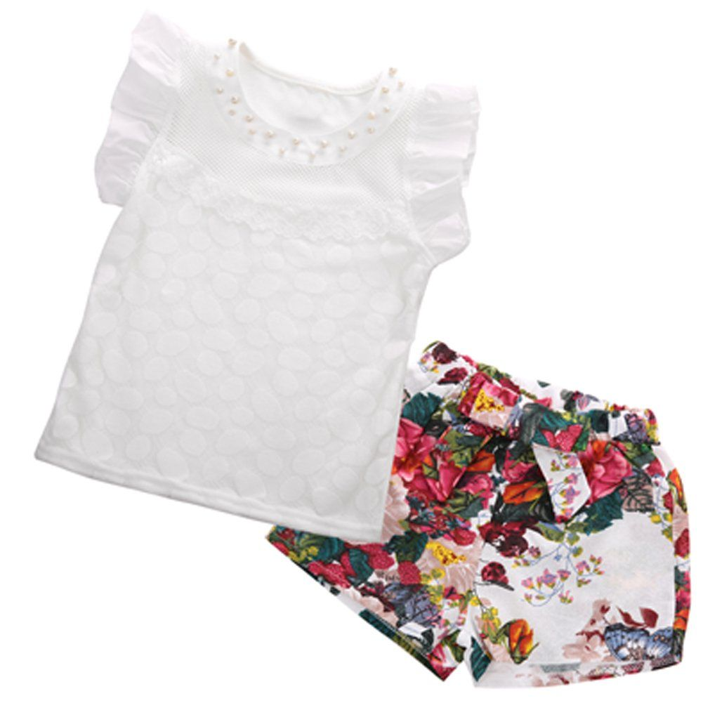 Toddler Baby Kid Girl Sleeveless Tops T-shirt Tank Floral Shorts Pants Outfits