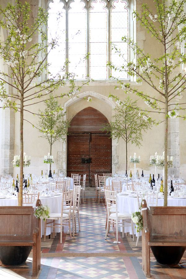 White Wedding Reception In A Church Churchreception Realtrees Photography Dasha Caffrey Location All Saints Boughton Aluph Kent