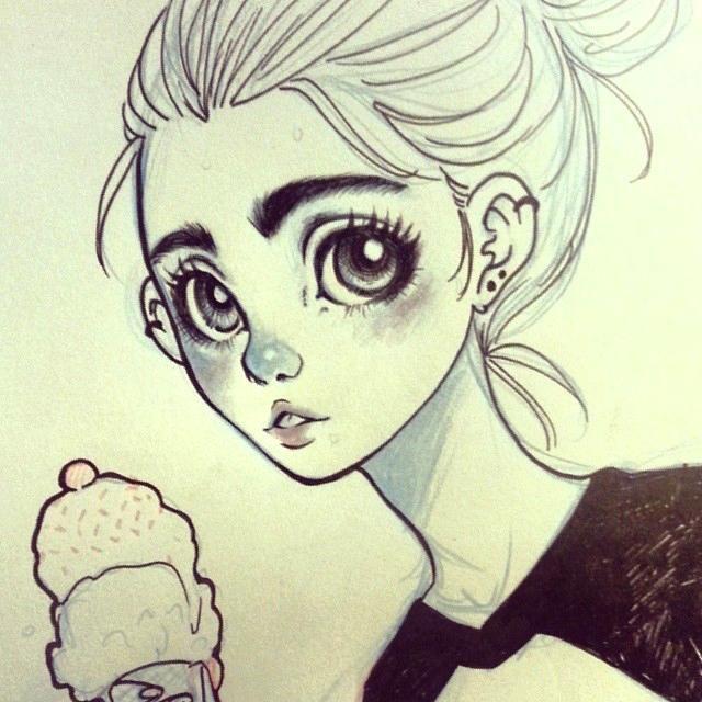 Really pretty big eye anime drawing! ️️   Drawings ...