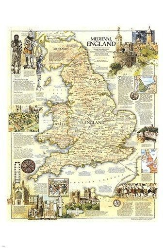 Map Of England In 1500.Map Of Medieval England Geographic Poster Historic Collectors Rare