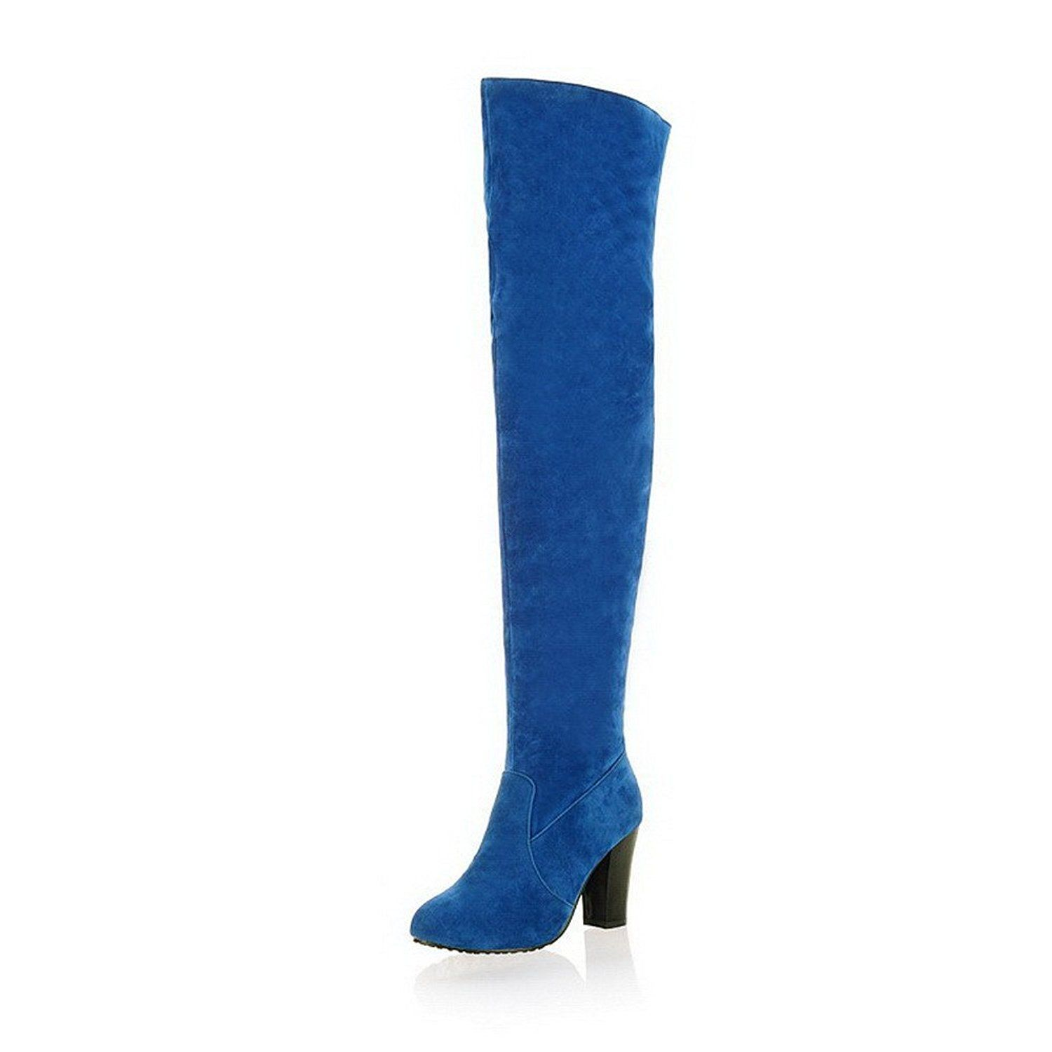 WeiPoot Womens High-Heels Pointed Closed Toe Above-The-Knee Boots