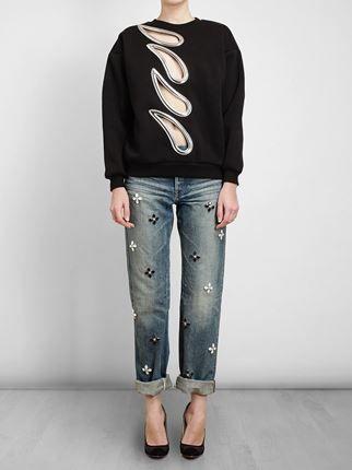Tu Es Mon Tresor Floral Embellished Boyfriend Jeans - Browns - Farfetch.com