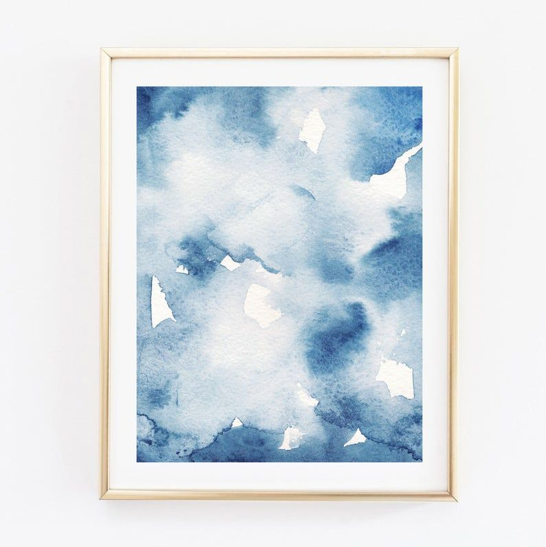 Navy Blue Abstract Watercolor Wall Art Print For Instant Download