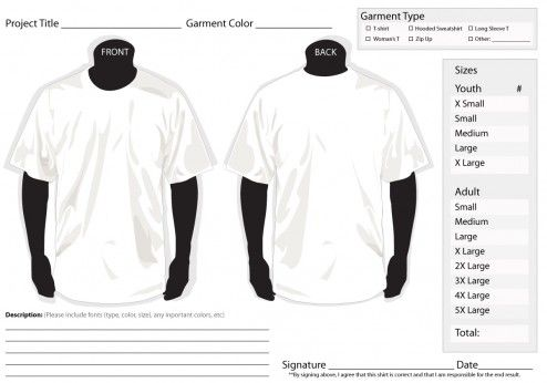 T Shirt Order Form Template Word  Hairstyles    Order
