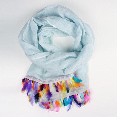 Handwoven Linen Scarves with Feather Trim | Bohemia Design - Bohemia Design