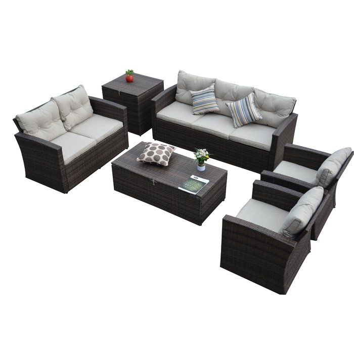 Carlene 6 Piece Sofa Set With Cushions Outdoor Sofa Sets Sofa Set Outdoor Sofa