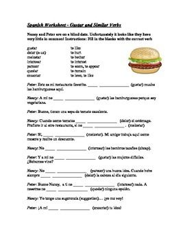 Gustar and Similar Verbs Worksheet - Gustar, Doler, Importar ...