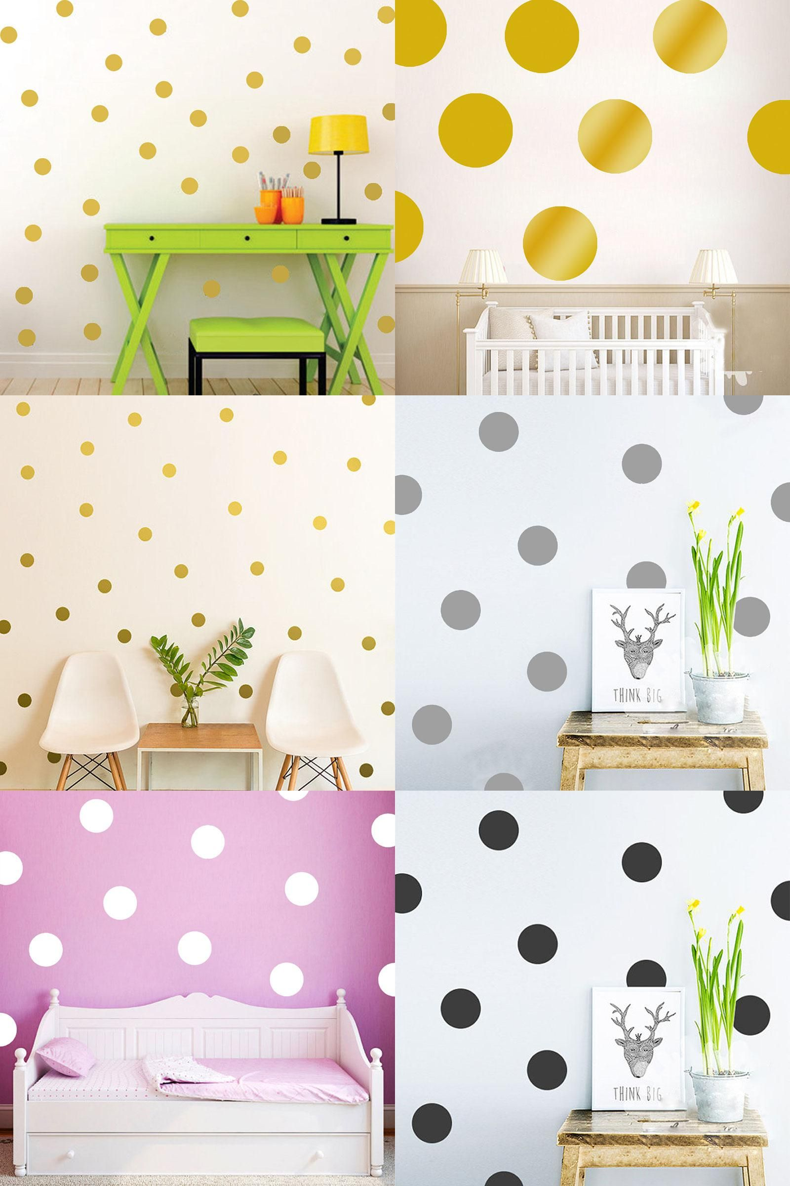 Visit to buy polka dot wall stickers for kids rooms gold polka dot