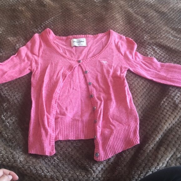 Pink cardigan Adorable pink color, comfortable cardigan, fits as a small Abercrombie & Fitch Sweaters Cardigans