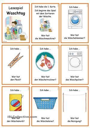 lesespiel waschtag ich habe wer hat bildung german language learning learn german. Black Bedroom Furniture Sets. Home Design Ideas